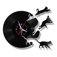 Gatos Fugindo Pet Relógio Disco Parede Vinil Lp Gatinho Arte