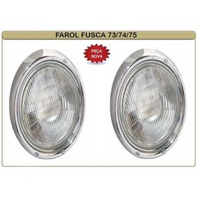 Farol Vw Fusca 73 74 75 Ferro Lente Vidro Par