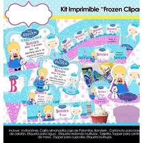 Kit Imprimible Frozen Elsa Anna Fiesta Congelada Mesa Postre