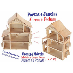 Casa Casinha Boneca Polly +34 Mini Móveis Poly Mdf Linda!!
