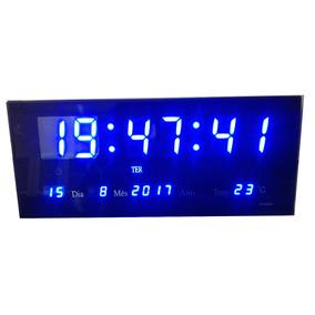 Relógio De Parede Mesa Digital Data Temperatura Alar Azul 36
