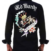 Camisa Ed Hardy Hombre Bordada Meses Sin Intereses
