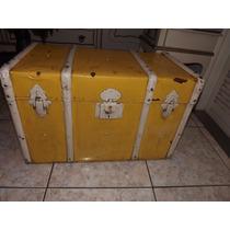 Baú De Madeira E Lata Amarelo Antiga #2430