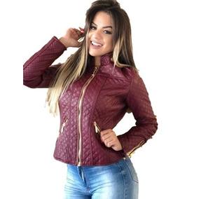 Jaqueta Feminina Matelassê E Couro Ecológico