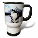3drose Siberian Husky Travel Mug, 14-ounce, Stainless Steel