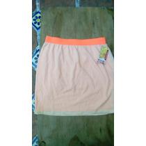 Hermosa Mini Falda Corta Recta Mosshimo Naranja Neon