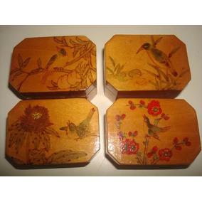 Lote C/ 4 Caixinhas De Madeira Envernizadas E Pintadas A Mão