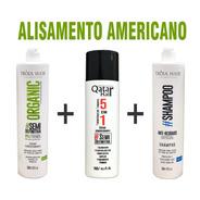 Kit Alisamento Trio Americano 3 Passos Tróia Hair + Brinde