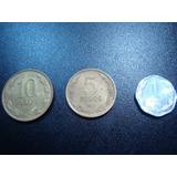 Moeda Chile 1 Peso 1992, 5 Pesos 1990 E 10 Pesos 1992 Coleci