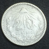 Moneda 20 Centavos Monograma Fecha Escasa 1908 Plata