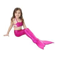 Biquíni Infantil Ariel E Cauda Sereia Nadadeira Monofin Pink