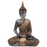 Buda Hindu Tailandês Tibetano Sidarta Resina Ouro C/ Prata