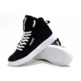 Tênis Bota Sneaker Cano Alto Masculino Feminino Em Couro