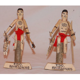 2 Yanomami Figuras En Madera Del Estado Amazonas + 1 Gratis