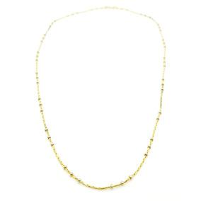 Cadena De Oro 18 K Con Bolas Bolitas Amarillo Y Blanco 40 Cm