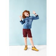 Camisa Infantil Jeans Lavagem Super Diferenciada Alfa 1514