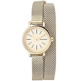 Skagen Mujer Skw2600 Hagen Oro Malla Doble Wrap Watch