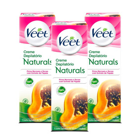 Kit Veet Creme Depilatório Naturals Papaia - 3 Unidades