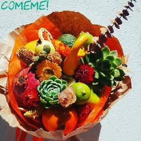 Ramo. Arreglo De Frutas, Verduras, Suculentas Y Flores.