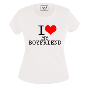 Paquete 2 Playeras Estampadas I Love My Girl/boy Friend