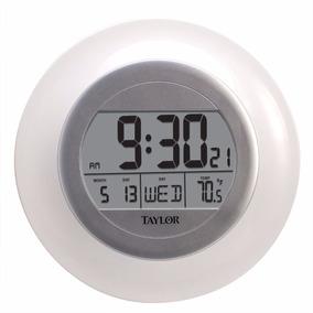 Reloj Atómico Fecha Y Termómetro De Pared Taylor