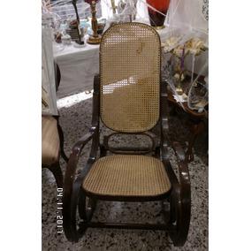 Antigua Silla-sillón- Mecedora Madera Y Esterilla