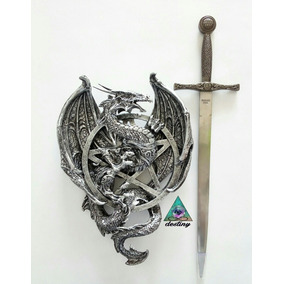 Dragon Medieval De Pared Con Espada En Acero Inoxidable