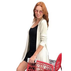 Casaco Tricot Tricô Canelado Crochê Moda Blogueiras Promoção