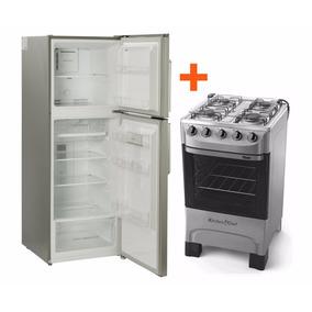 Heladera Tem Frio Seco Gris+ Cocina Tem Supergas 4 Hornallas