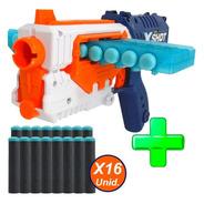 Pistola Lanza Dardos X-shot Quick Slide + 16 Dardos Cargador
