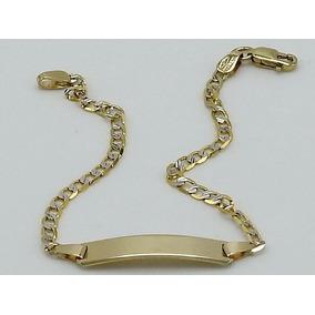 Esclava De Oro Amarillo 10k Diamantada Tejido Cubano
