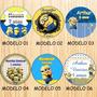 100 Rótulos Adesivo Minions Para Latinha 5 Cm