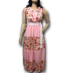 Vestido Longo Princesa Rosa Estampado Evangélico Lindo