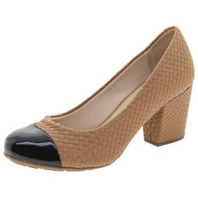 Sapato Feminino Salto Médio Camel Moleca - 5300318