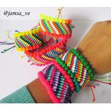 Brazalete Grueso Tejido Colores Pompon Moda Al Mayor Jamsa