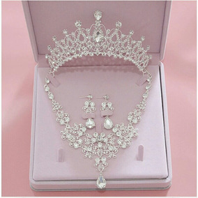 Conjunto Coroa Colar Brinco Noiva Miss Dama Veu 15 Anos