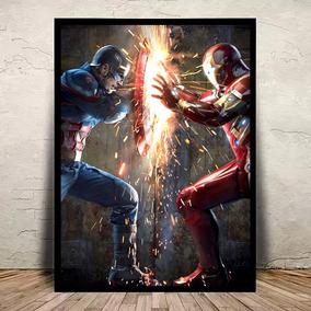 Quadro Marvel Guerra Civil Moldura E Vidro 45x35cm #6