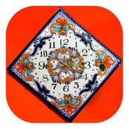 Azulejo Reloj De Pared 20 Cm Color De Talavera Poblana R1 Az