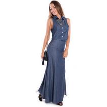 Saia Longa Jeans Com Póa - Kam Bess - Sa0551
