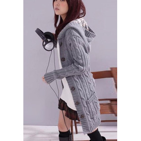 Suéter Tejido Color Gris Largo Con Cinto Moda Corea