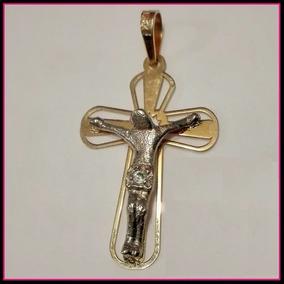 Dije Cruz De Cristo En Oro 10k Solido Amarillo