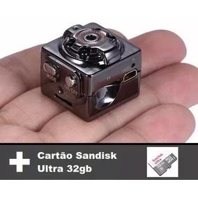Mini Câmera Espiã Visão Noturna Com Cartão De Memória 32gb