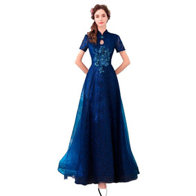 Vestido Formatura Azul Marinho 34 36 38 40 42 44 46 Va00201