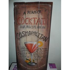 Cartel Vintage Madera Pintado A Mano Coctel Cosmopolitan