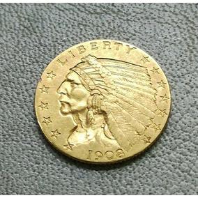 Moneda De Coleccion 2 1/2 Dollar Oro Indian Head Gold 1908