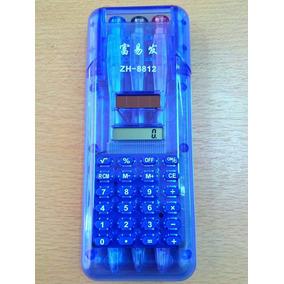 Calculadora Azul O Transparente + 3 Lapiceras