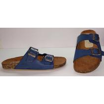 Sandalias Tipo Birkenstock Arizona 102 Azul Marino