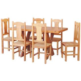 Conjunto Mesa Jantar Madeira Maciça 1,5m 6 Cadeiras Colonial