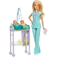 Barbie Doctora Pediatra Gemelitos Bebe Juegos Médicos  Dhb63