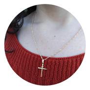 Colar Gargantilha Com Pingente Cruz Crucifixo Banhado A Ouro